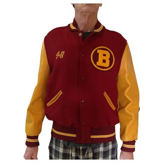 On Sale for $75 Varsity Letterman's jacket, probably from early 1960's or late 1950's from Bellflower, CA near LA, size 44