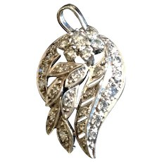 "Old Diamond Platinum ""Wing"" from a 1930's watch and converted to a diamond pendant with 14 KWG chain, sale $595"