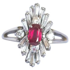 "Another Reduction to $1695, 18 Karat White Gold Pigeon Blood and diamond (some baguettes) ""Mad Man"" 1950-60's cocktail ring, stunning natural Ruby"