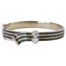 Victorian diamond bangle bracelet in 14-15 Karat Yellow Gold, tested professionally, 1 carat total weight in the 2 diamonds total