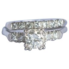 1940's wedding set, Platinum Engagement ring with a weight of 0.59ct center diamond and Platinum and diamond band