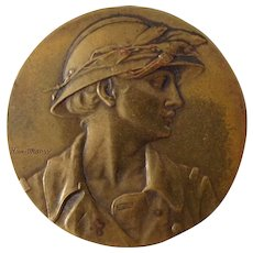 "Art Nouveau ""Marianne as Soldier"" medallion by Henry Dropsy (Henri Dropsy)"