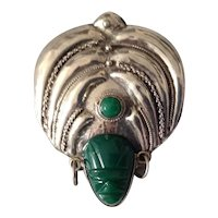 Vtg Large Mexican Sterling Silver and Mexican Jade Mask Pin