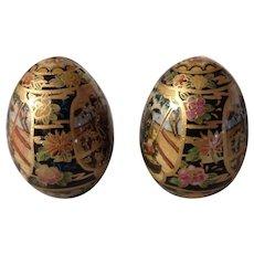 Pair of Satsuma decorative Eggs
