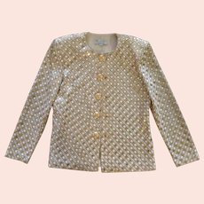 Vintage St. John EVENINGS, BY MARIE GRAY, Cream and Gold Knit evening jacket/sweater