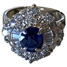 Vintage Platinum and Natural Sapphire Ring with Diamond Rounds and Baguettes just appraised