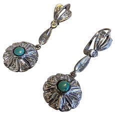Palladium Persian Turquoise and Diamond Earrings, there is ring to match sold separately