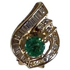 Vintage 18 Karat Yellow Gold, Emerald and Diamond Earrings, Omega backs for pierced or fold down for non-pierced