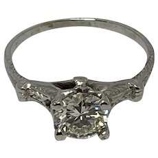 Just Appraised at $4,700 before taxes, 1930's 18K White Gold .85 Carat Solitaire Diamond Ring