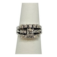 14K and Platinum Wedding set, 3 bands fused together, a Mid Century Modern Beauty