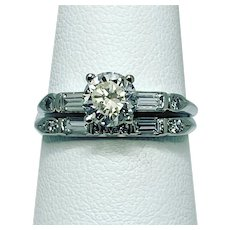 Just appraised at $4,400, 1930's Platinum Wedding set, .90c (9/10 of a 1 carat) Diamond Center