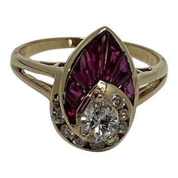 Art Deco 14K Yellow Gold .30c Pear shape diamonds and Rubies