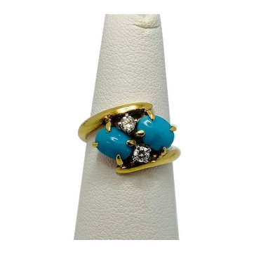 18K Yellow Gold, Persian Turquoise and Diamond Ring