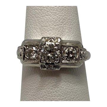 Art Deco 3 Stone Diamond Ring, 18KWG