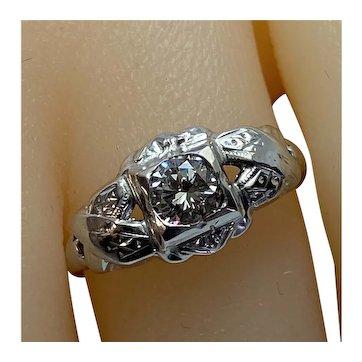 Art Deco Diamond Ring, .42c Diamond Center Stone