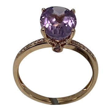 14K Rose Gold Amethyst Solitaire