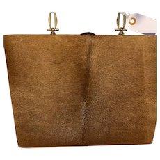 Sale $145 Vintage Brown deer hide Gambini purse, probably 1950-60's