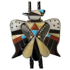 Thunderbird Bolo Tie AND MATCHING Belt Buckle by Buckle Bobby and Corrine Shack Zuni, early pieces