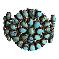 Old Navajo Turquoise Cluster Cuff