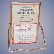 Vintage 1977 Easel Pocket or Desk Mirror and Calendar