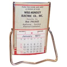 Vintage 1977 Easel Pocket or Desk Mirror and Calendar