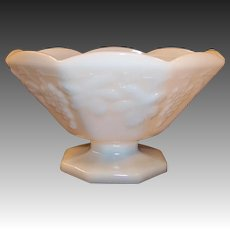 Anchor Hocking White Milk Glass Harvest Grape and Leaf Paneled Compote Bowl