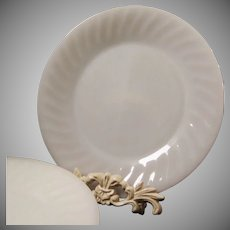 SET of SIX: White Fire King Swirl Dinner Plates