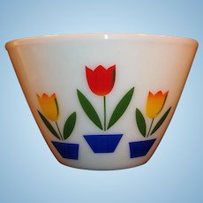"""Large Ivory Fire King Tulip Mixing Bowl (9 1/2"""")"""