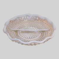 1940's Anchor Hocking Moonstone Ruffled Divided Relish / Candy Dish White Opalescent Hobnail