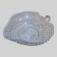 """1940's Anchor Hocking Moonstone Heart Shaped """"Nappy"""" Candy Dish White Opalescent Hobnail"""