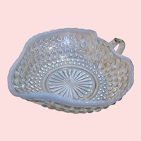"1940's Anchor Hocking Moonstone Heart Shaped ""Nappy"" Candy Dish White Opalescent Hobnail"