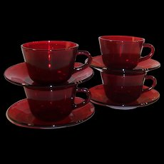 SET OF 4:  Royal Ruby Coffee Cups & Saucers