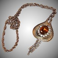 Vintage Faceted Amber Glass and Rhinestone Pendant Necklace