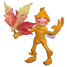 Annalee Mobiltee Gold Autumn Leaf Elf 1994