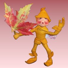Annalee Mobiltee Gold Autumn Leaf Elf 1994