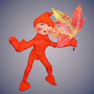 Annalee Mobiltee Blazing Orange Autumn Leaf Elf 1994