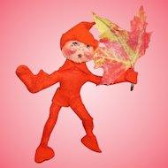 Annalee Mobiltee Blazing Orange Autumn Leaf Elf 1994