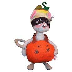 "Vintage Annalee Mobiltee Halloween Mouse Pumpkin Costume 8"" Doll"