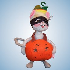 "Vintage Annalee Mobiltee Halloween Mouse Pumpkin Costume 8"" Doll"