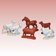 Six: Vintage Auburn Rubber Farm Animals