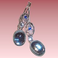 Avon Silver Plate Ocean Blue Pierced Earrings