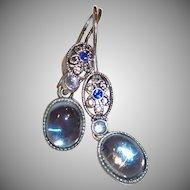 Avon Silver Plate Ocean Blue Pierced Earrings