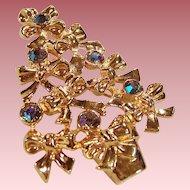 Avon Aurora Borealis Blue Rhinestone Christmas Tree Pin