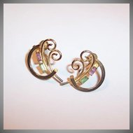 Vintage 1940's -50's Gilded Bond Boyd Sterling Earrings