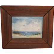 Vintage Unsigned Seascape Painting on Canvas Natural Wood frame