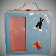 Vintage 1960's Blue Vinyl Doll Case