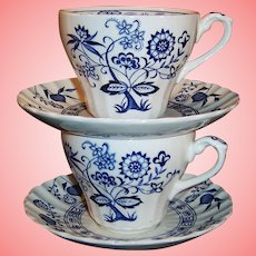 J&G Meakin Blue Nordic Cups & Saucers