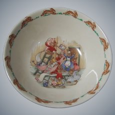 """Royal Doulton Bunnykins Children's or Baby 6"""" Cereal Bowl,  Home Decorating Scene"""