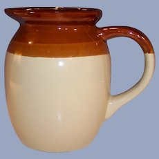 Excellent One Quart Two Tone Brown Earthenware Ceramic Pitcher