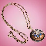 Sapphire Blue & Clear Rhinestones Double Locket Pendant